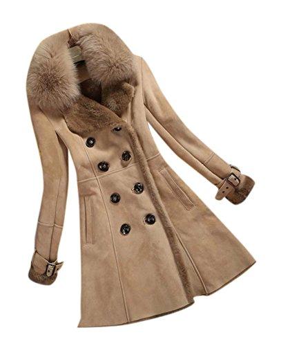 Női irha kabát gombfelvarrás